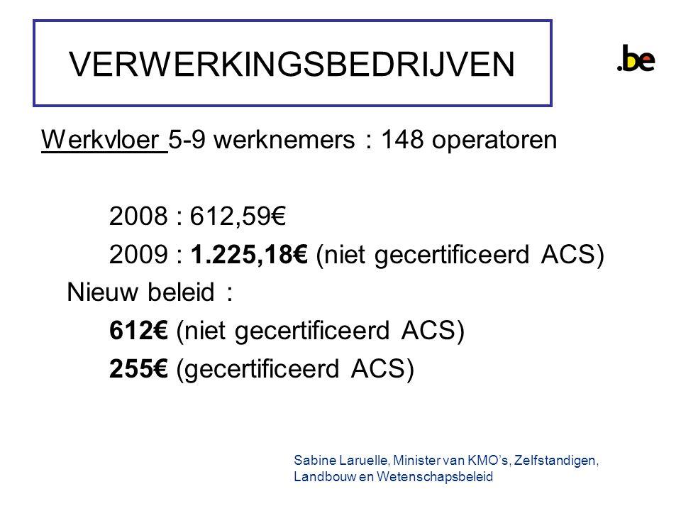 VERWERKINGSBEDRIJVEN Werkvloer 5-9 werknemers : 148 operatoren 2008 : 612,59€ 2009 : 1.225,18€ (niet gecertificeerd ACS) Nieuw beleid : 612€ (niet gecertificeerd ACS) 255€ (gecertificeerd ACS) Sabine Laruelle, Minister van KMO's, Zelfstandigen, Landbouw en Wetenschapsbeleid