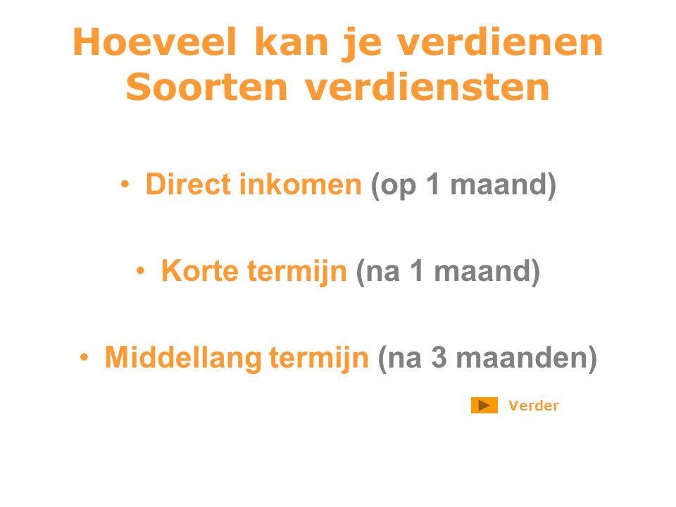 Hoeveel kan je verdienen Soorten verdiensten Direct inkomen (op 1 maand) Korte termijn (na 1 maand) Middellang termijn (na 3 maanden) Verder