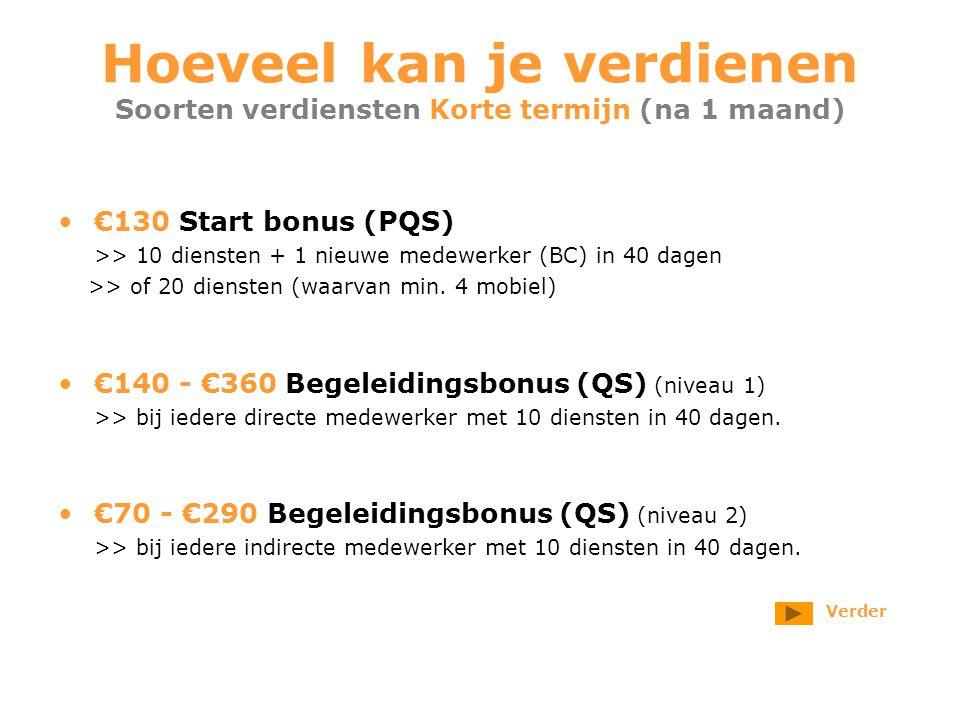 Hoeveel kan je verdienen Soorten verdiensten Korte termijn (na 1 maand) €130 Start bonus (PQS) >> 10 diensten + 1 nieuwe medewerker (BC) in 40 dagen >> of 20 diensten (waarvan min.