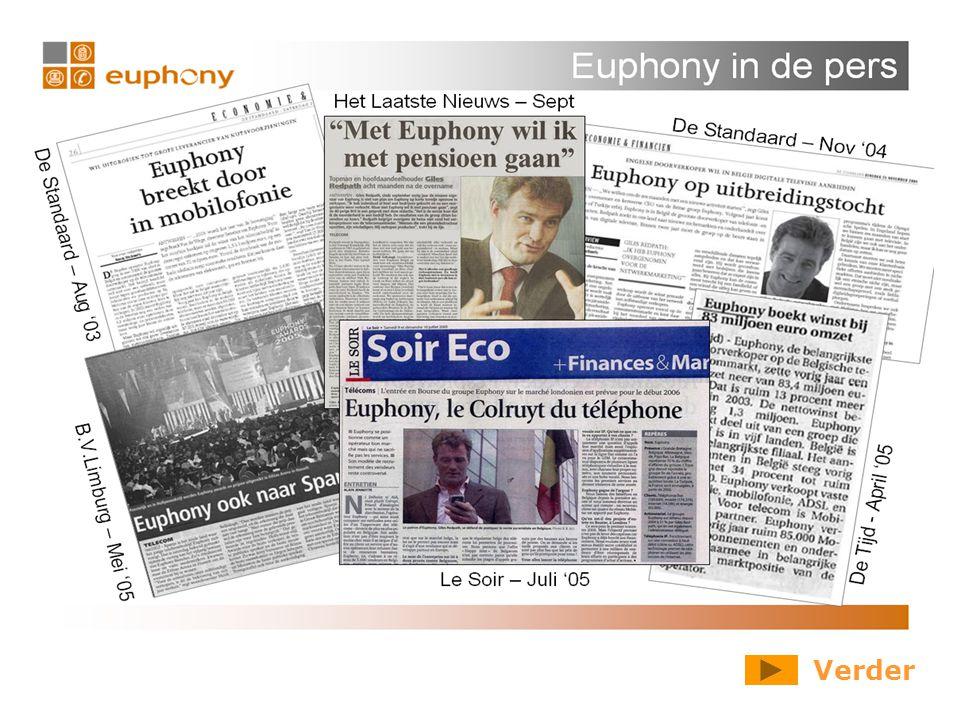Wie zijn we Euphony is sinds 2000 aktief in België en biedt verschillende diensten van hoge kwaliteit aan tegen competitieve prijzen.