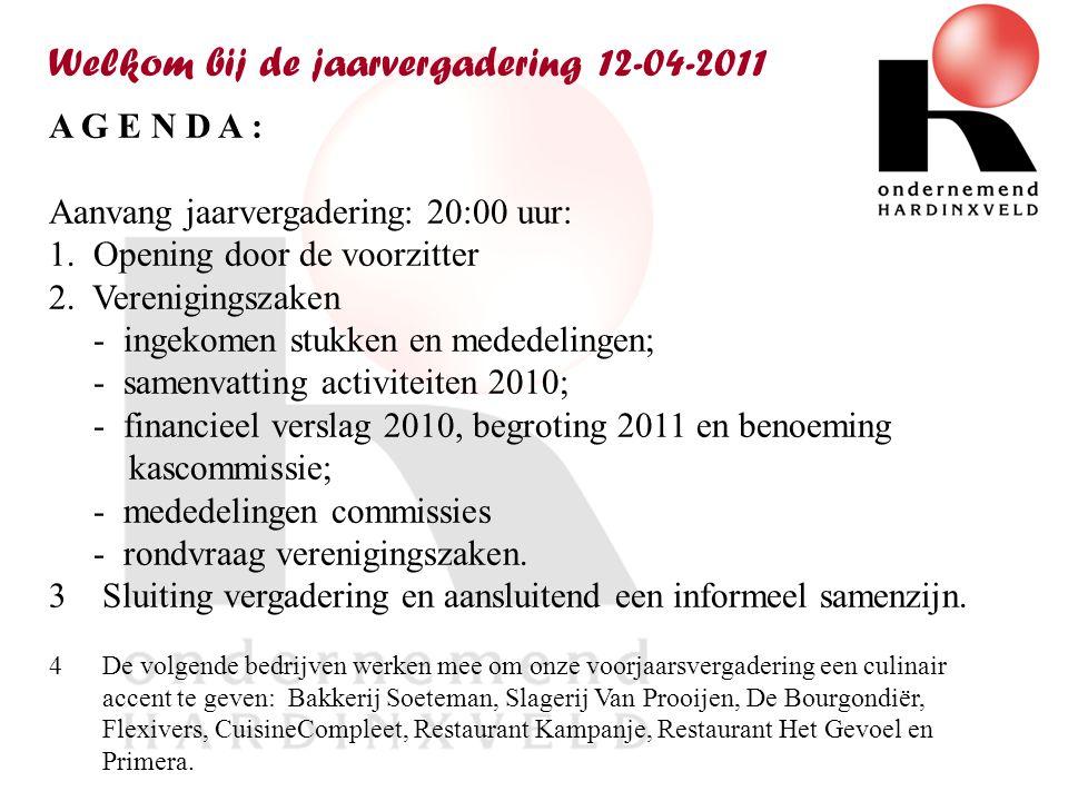 Welkom bij de jaarvergadering 12-04-2011 A G E N D A : Aanvang jaarvergadering: 20:00 uur: 1.