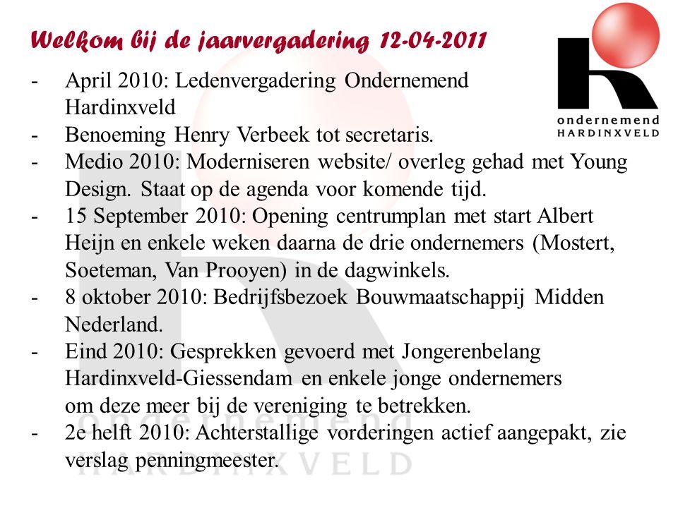 Welkom bij de jaarvergadering 12-04-2011 -April 2010: Ledenvergadering Ondernemend Hardinxveld -Benoeming Henry Verbeek tot secretaris.