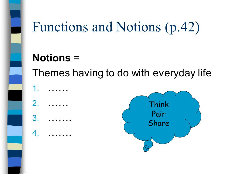 Functions and Notions (p.42) Notions = Themes having to do with everyday life 1. …… 2. …… 3. ……. 4. ……. Think Pair Share