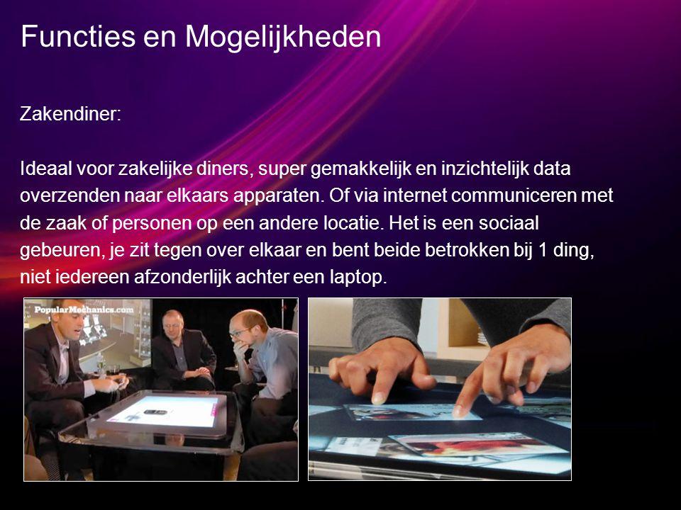Functies en Mogelijkheden Zakendiner: Ideaal voor zakelijke diners, super gemakkelijk en inzichtelijk data overzenden naar elkaars apparaten.