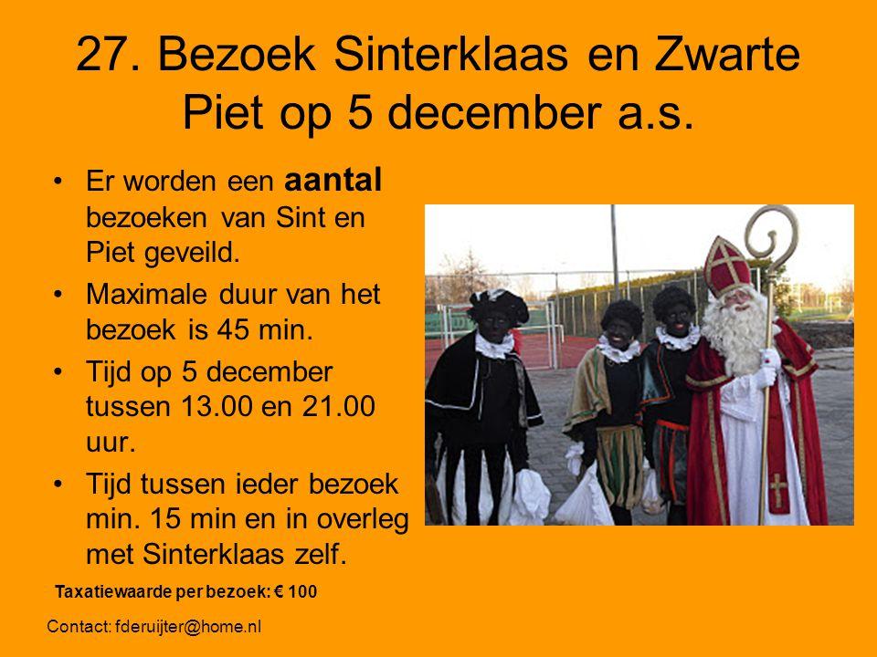 27. Bezoek Sinterklaas en Zwarte Piet op 5 december a.s.