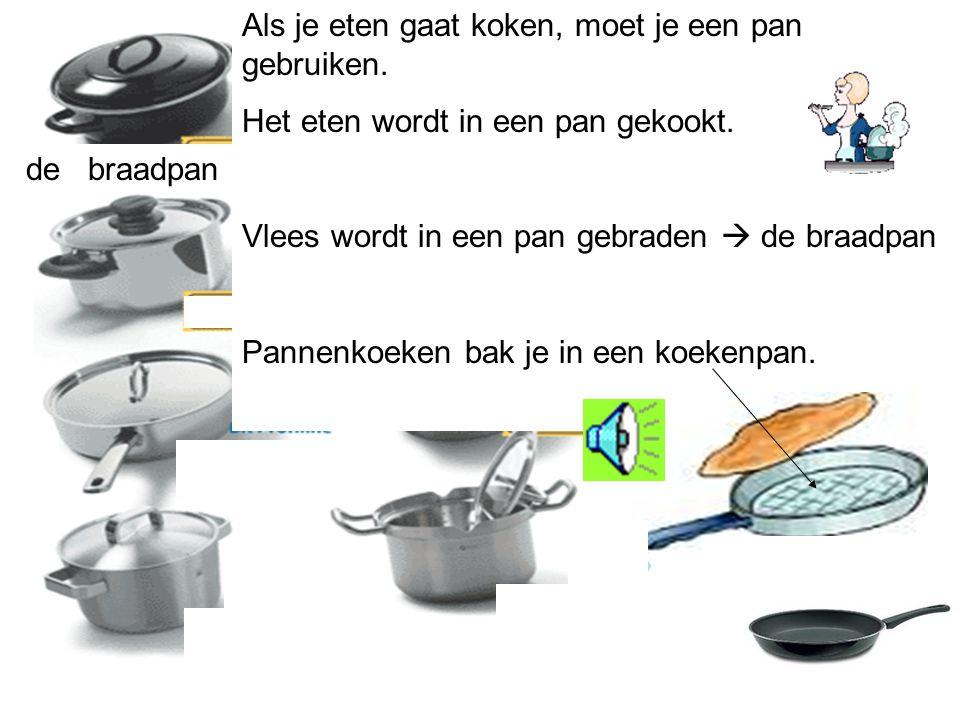 De pan Op een pan zit een deksel. Je kookt de aardappels in de pan. de deksel het deksel