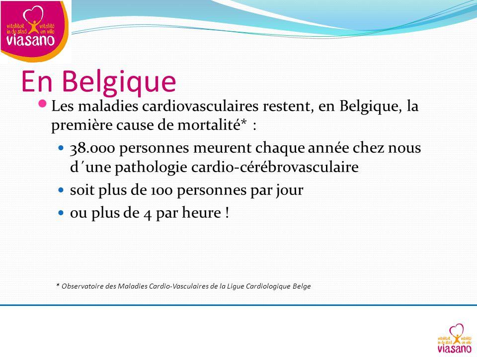 En Belgique Les maladies cardiovasculaires restent, en Belgique, la première cause de mortalité* : 38.000 personnes meurent chaque année chez nous d´une pathologie cardio-cérébrovasculaire soit plus de 100 personnes par jour ou plus de 4 par heure .
