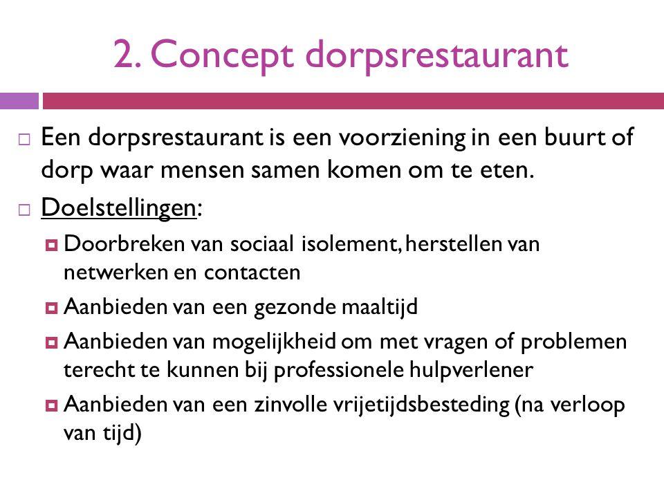 2. Concept dorpsrestaurant  Een dorpsrestaurant is een voorziening in een buurt of dorp waar mensen samen komen om te eten.  Doelstellingen:  Doorb