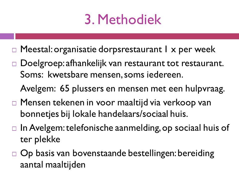 3. Methodiek  Meestal: organisatie dorpsrestaurant 1 x per week  Doelgroep: afhankelijk van restaurant tot restaurant. Soms: kwetsbare mensen, soms
