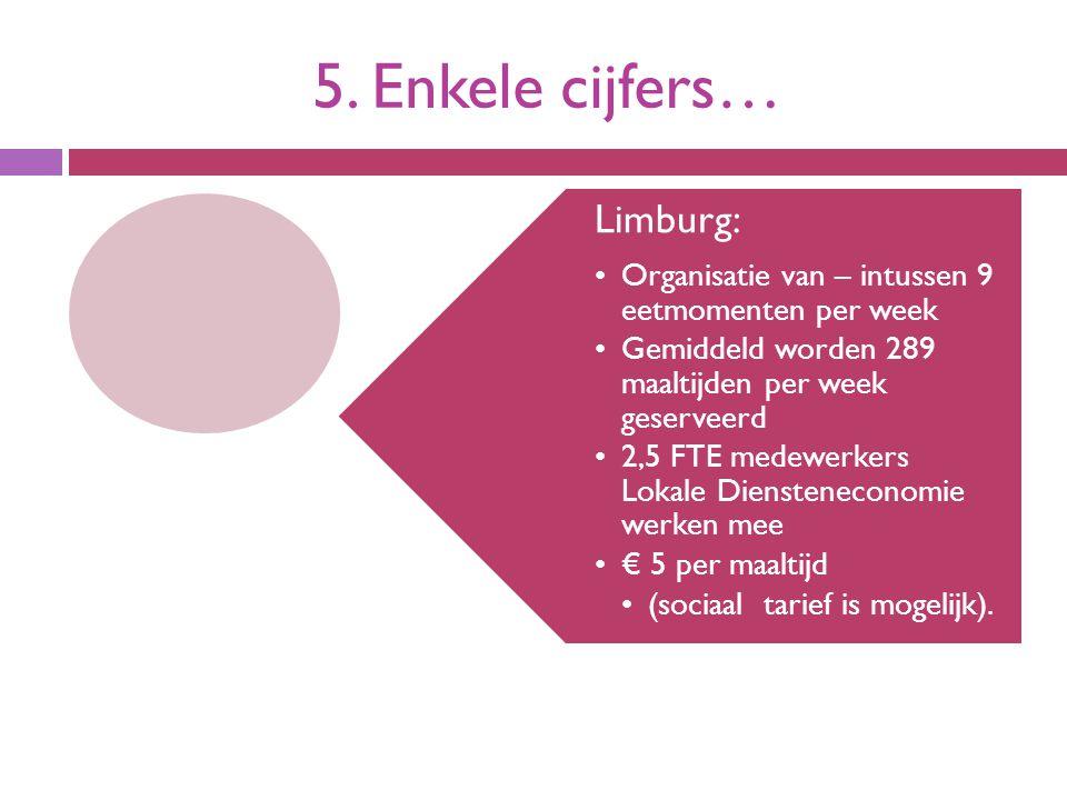 5. Enkele cijfers… Limburg: Organisatie van – intussen 9 eetmomenten per week Gemiddeld worden 289 maaltijden per week geserveerd 2,5 FTE medewerkers
