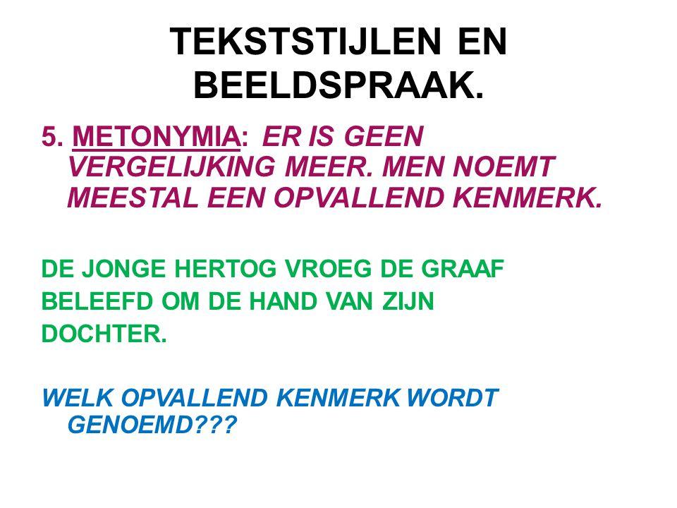 TEKSTSTIJLEN EN BEELDSPRAAK. 5. METONYMIA: ER IS GEEN VERGELIJKING MEER. MEN NOEMT MEESTAL EEN OPVALLEND KENMERK. DE JONGE HERTOG VROEG DE GRAAF BELEE