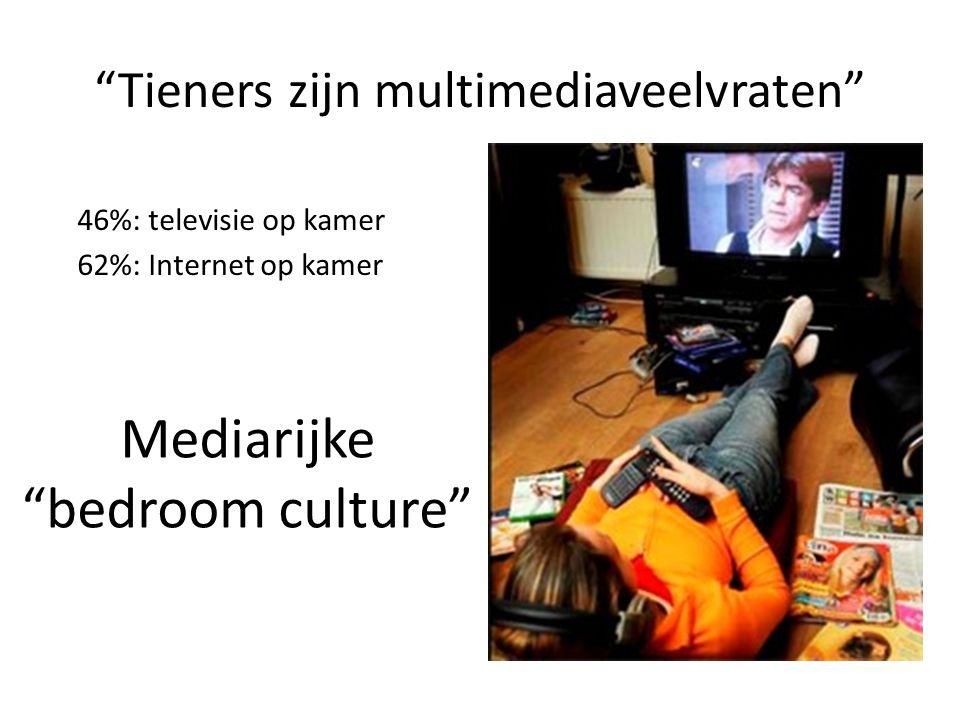 """""""Tieners zijn multimediaveelvraten"""" 46%: televisie op kamer 62%: Internet op kamer Mediarijke """"bedroom culture"""""""