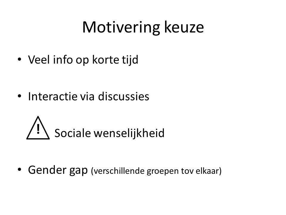 Motivering keuze Veel info op korte tijd Interactie via discussies Sociale wenselijkheid Gender gap (verschillende groepen tov elkaar) !