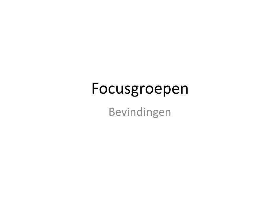 Focusgroepen Bevindingen