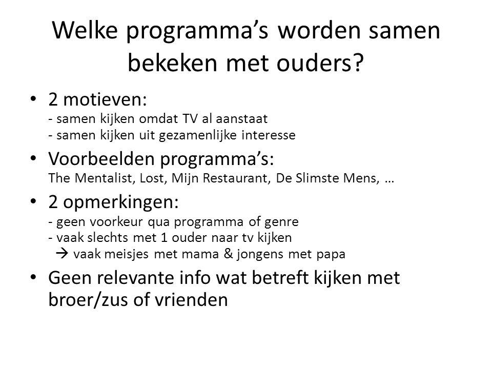 Welke programma's worden samen bekeken met ouders? 2 motieven: - samen kijken omdat TV al aanstaat - samen kijken uit gezamenlijke interesse Voorbeeld