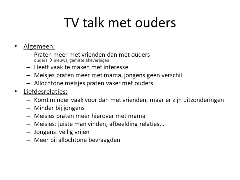 TV talk met ouders Algemeen: – Praten meer met vrienden dan met ouders ouders  nieuws, gemiste afleveringen – Heeft vaak te maken met interesse – Mei
