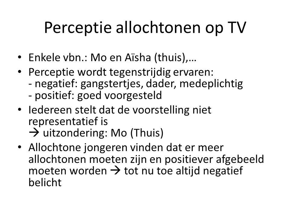 Perceptie allochtonen op TV Enkele vbn.: Mo en Aïsha (thuis),… Perceptie wordt tegenstrijdig ervaren: - negatief: gangstertjes, dader, medeplichtig -