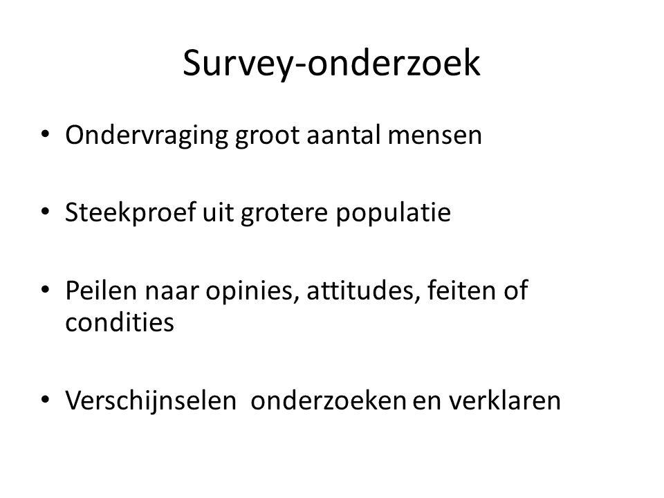 Survey-onderzoek Ondervraging groot aantal mensen Steekproef uit grotere populatie Peilen naar opinies, attitudes, feiten of condities Verschijnselen