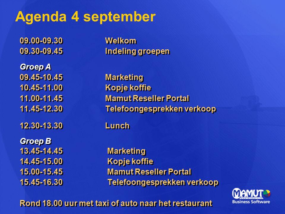 09.00-09.30Welkom 09.30-09.45Indeling groepen Groep A 09.45-10.45 Marketing 10.45-11.00Kopje koffie 11.00-11.45Mamut Reseller Portal 11.45-12.30Telefo