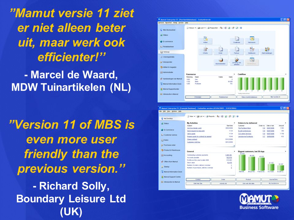 Mamut versie 11 ziet er niet alleen beter uit, maar werk ook efficienter!'' - Marcel de Waard, MDW Tuinartikelen (NL) Version 11 of MBS is even more user friendly than the previous version.'' - Richard Solly, Boundary Leisure Ltd (UK)