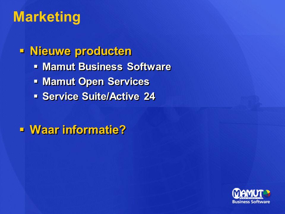  Nieuwe producten  Mamut Business Software  Mamut Open Services  Service Suite/Active 24  Waar informatie.