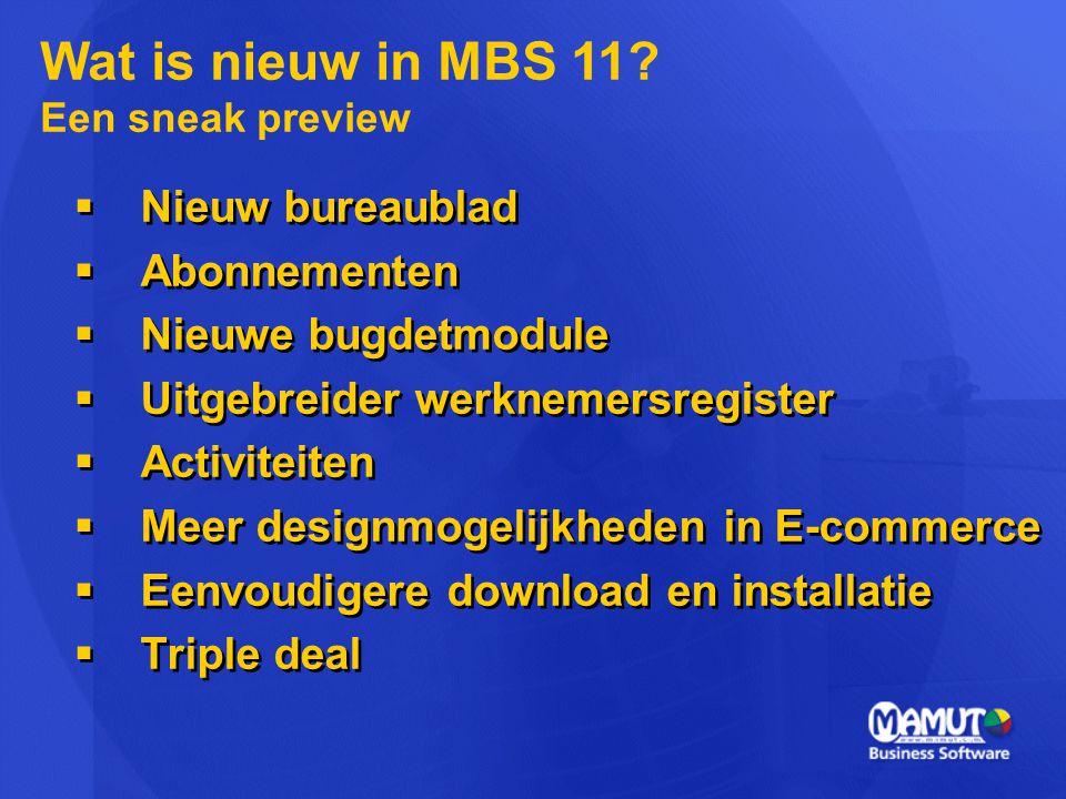  Nieuw bureaublad  Abonnementen  Nieuwe bugdetmodule  Uitgebreider werknemersregister  Activiteiten  Meer designmogelijkheden in E-commerce  Ee