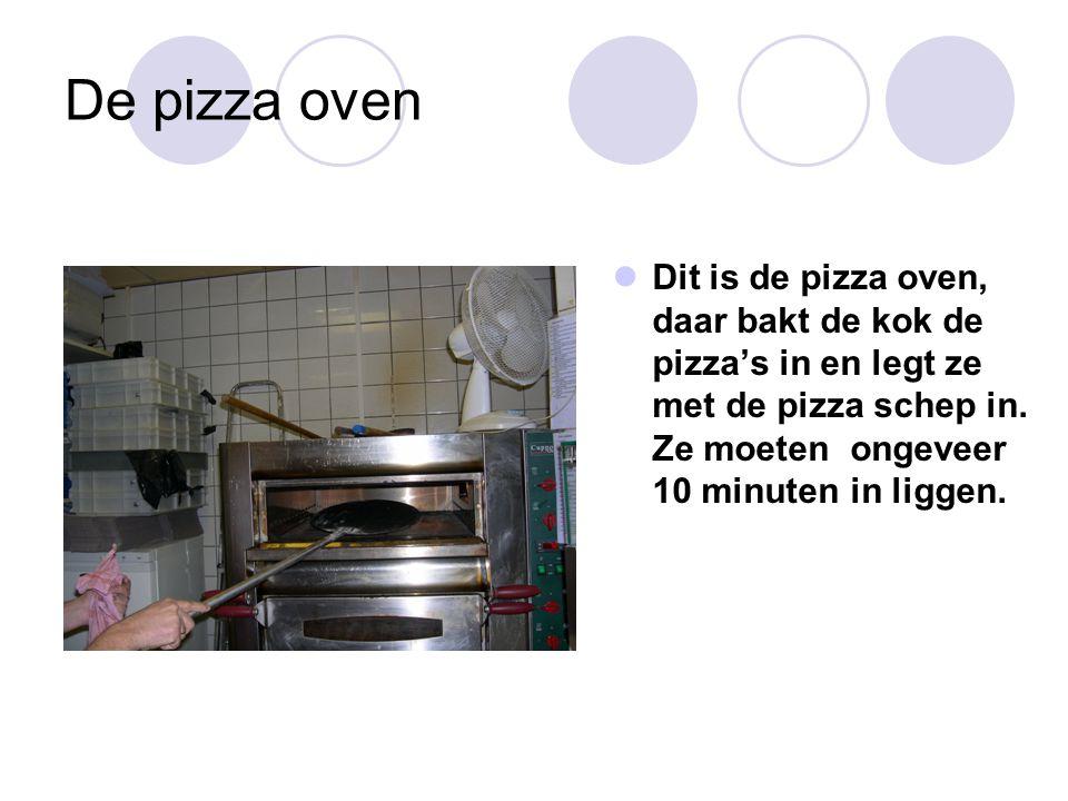 De pizza oven Dit is de pizza oven, daar bakt de kok de pizza's in en legt ze met de pizza schep in. Ze moeten ongeveer 10 minuten in liggen.