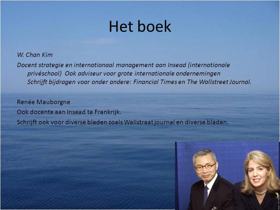 Het boek W. Chan Kim Docent strategie en internationaal management aan Insead (internationale privéschool) Ook adviseur voor grote internationale onde