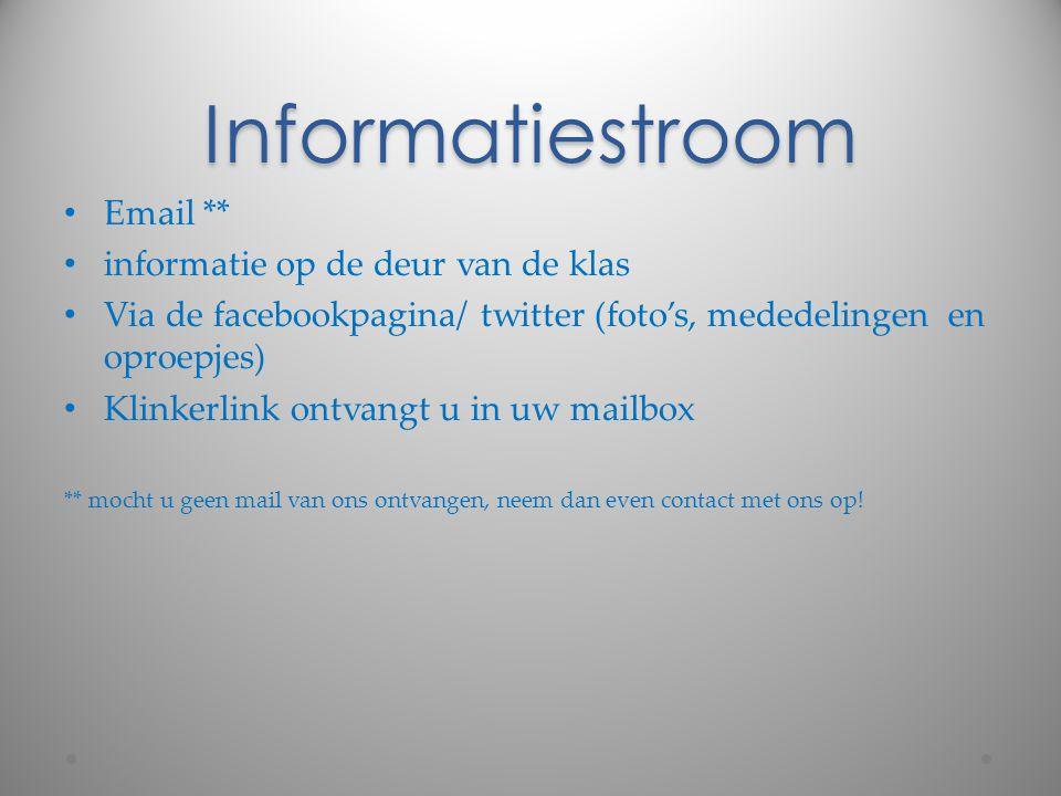 Informatiestroom Email ** informatie op de deur van de klas Via de facebookpagina/ twitter (foto's, mededelingen en oproepjes) Klinkerlink ontvangt u
