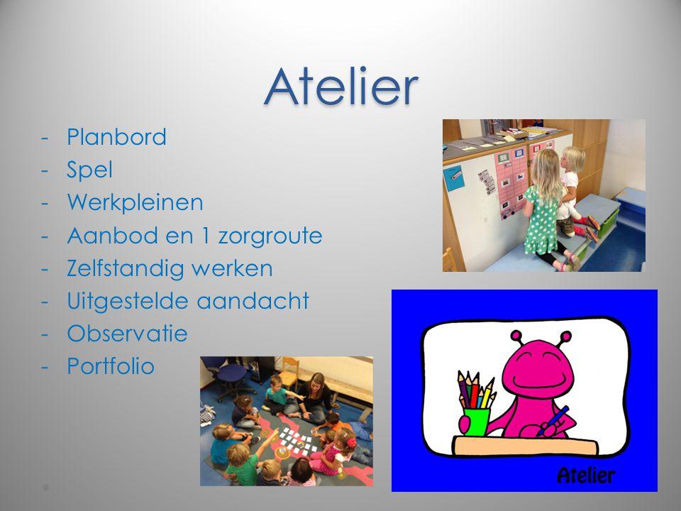 Atelier -Planbord -Spel -Werkpleinen -Aanbod en 1 zorgroute -Zelfstandig werken -Uitgestelde aandacht -Observatie -Portfolio