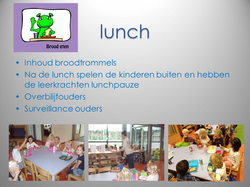 lunch Inhoud broodtrommels Na de lunch spelen de kinderen buiten en hebben de leerkrachten lunchpauze Overblijfouders Surveillance ouders