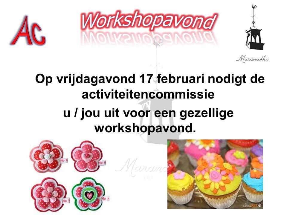 Op vrijdagavond 17 februari nodigt de activiteitencommissie u / jou uit voor een gezellige workshopavond.