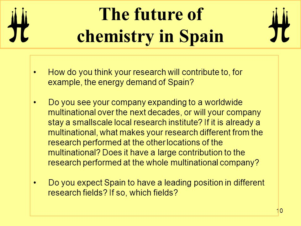 10 The future of chemistry in Spain How do you think your research will contribute to, for example, the energy demand of Spain.