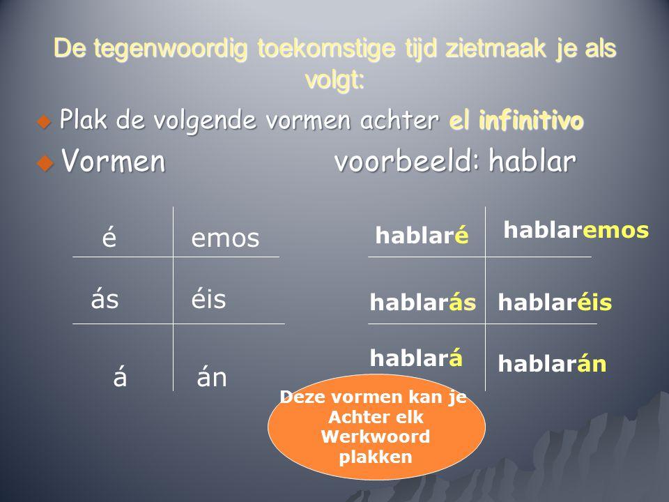 De tegenwoordig toekomstige tijd zietmaak je als volgt:  Plak de volgende vormen achter el infinitivo  Vormen voorbeeld: hablar é ás á emos éis án h