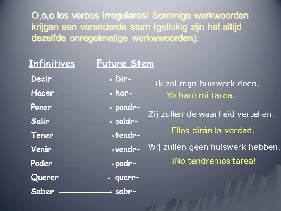 O,o,o los verbos irregulares! Sommige werkwoorden krijgen een veranderde stam (gellukig zijn het altijd dezelfde onregelmatige werkwwoorden): Infiniti