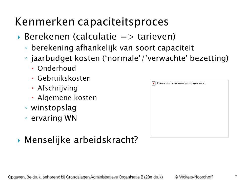 7  Berekenen (calculatie => tarieven) ◦ berekening afhankelijk van soort capaciteit ◦ jaarbudget kosten ('normale'/'verwachte' bezetting)  Onderhoud