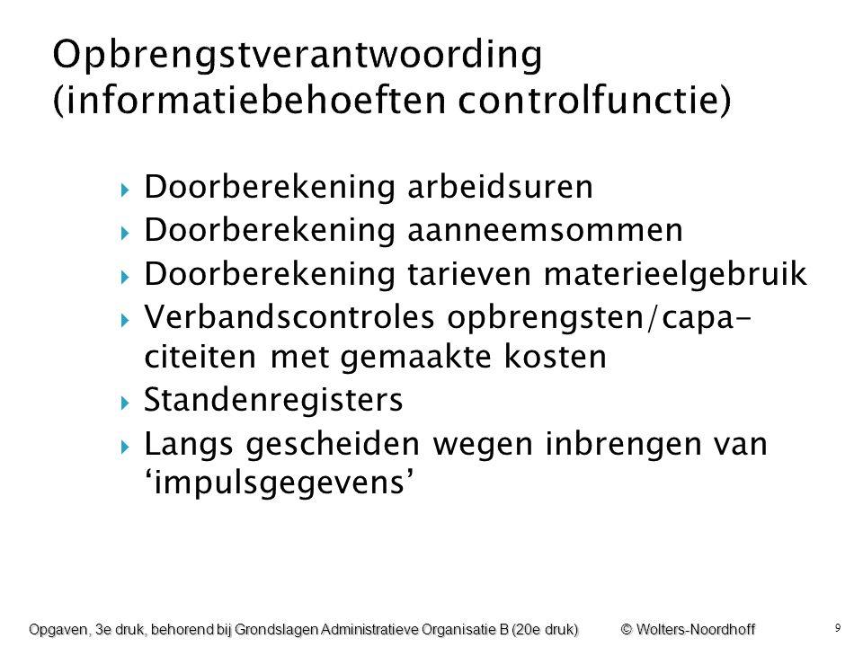 9  Doorberekening arbeidsuren  Doorberekening aanneemsommen  Doorberekening tarieven materieelgebruik  Verbandscontroles opbrengsten/capa- citeite