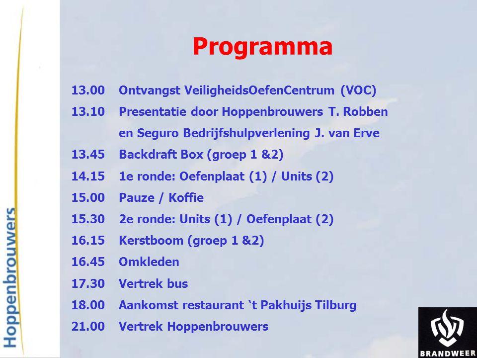 Programma 13.00Ontvangst VeiligheidsOefenCentrum (VOC) 13.10Presentatie door Hoppenbrouwers T. Robben en Seguro Bedrijfshulpverlening J. van Erve 13.4