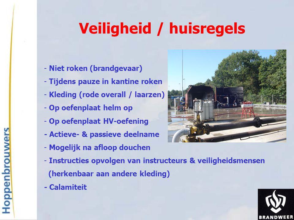 Veiligheid / huisregels - Niet roken (brandgevaar) - Tijdens pauze in kantine roken - Kleding (rode overall / laarzen) - Op oefenplaat helm op - Op oe