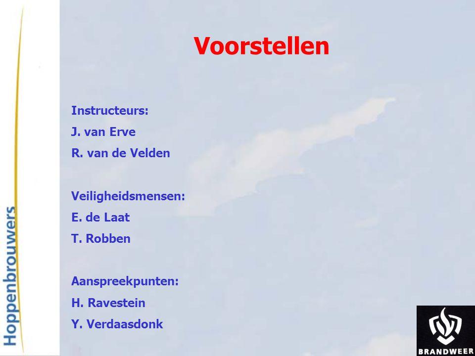 Voorstellen Instructeurs: J. van Erve R. van de Velden Veiligheidsmensen: E. de Laat T. Robben Aanspreekpunten: H. Ravestein Y. Verdaasdonk