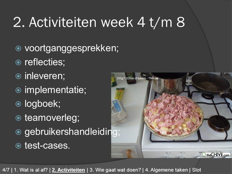 2. Activiteiten week 4 t/m 8  voortganggesprekken;  reflecties;  inleveren;  implementatie;  logboek;  teamoverleg;  gebruikershandleiding;  t