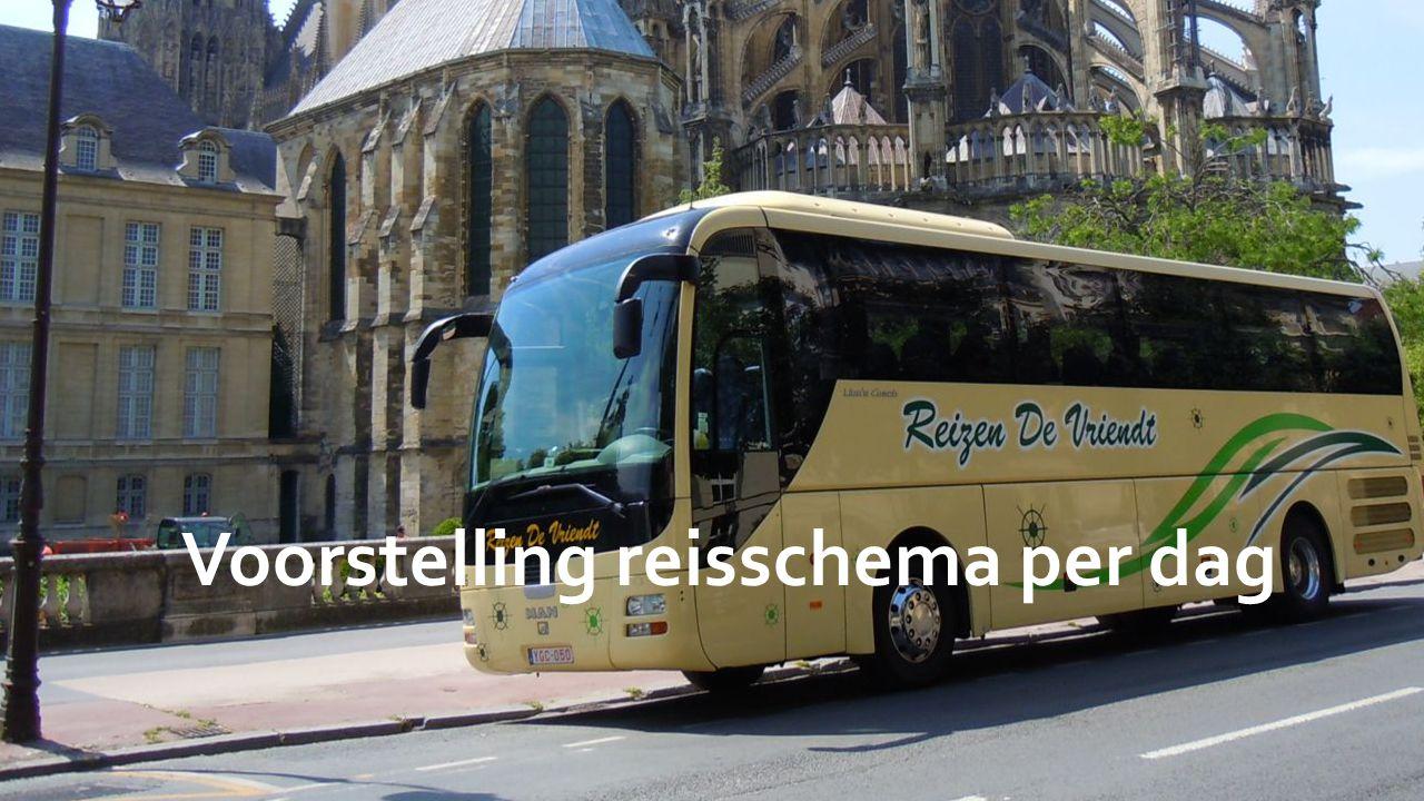 Dag 1: 2 juli 08:00Vertrek: parking station Brussel-Zuid 10:00-10:30Tussenstop bij het uitzichtpunt in Rochehaut 12:00-13:00Aankomst in de streek rondom Verdun en lunch in Restaurant L Abri Des Pelerins 13:00-14:00Fort Douaumont 14:15-15:00Ossuarium van Douaumont 15:15-16:15Mémorial de Verdun 16:30-18:00Citadelle souterraine 18:15Aankomst Ibis Hotel Verdun en check-in en kamerverdeling 19:00Buffet in het restaurant van het hotel.