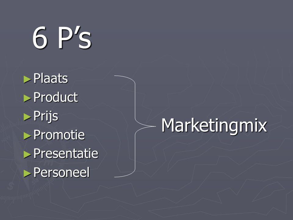 ► Plaats ► Product ► Prijs ► Promotie ► Presentatie ► Personeel 6 P's Marketingmix