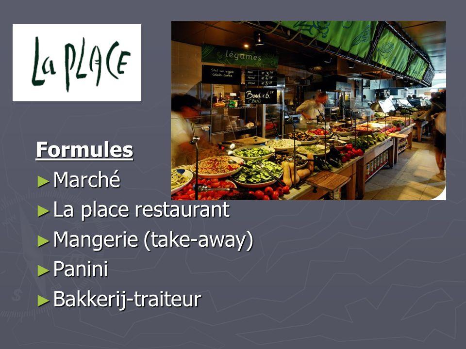 Formules ► Marché ► La place restaurant ► Mangerie (take-away) ► Panini ► Bakkerij-traiteur
