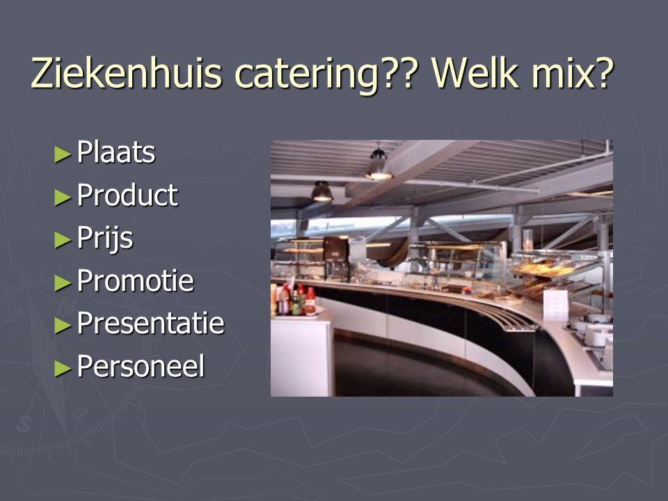 Ziekenhuis catering?? Welk mix? ► Plaats ► Product ► Prijs ► Promotie ► Presentatie ► Personeel
