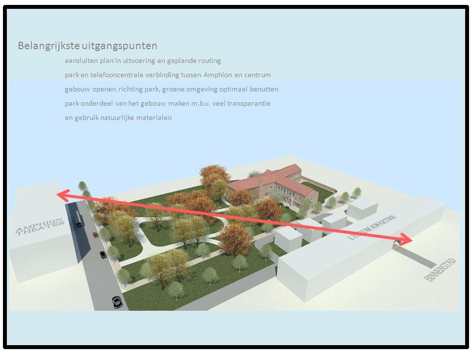 Belangrijkste uitgangspunten aansluiten plan in uitvoering en geplande routing park en telefooncentrale verbinding tussen Amphion en centrum gebouw op