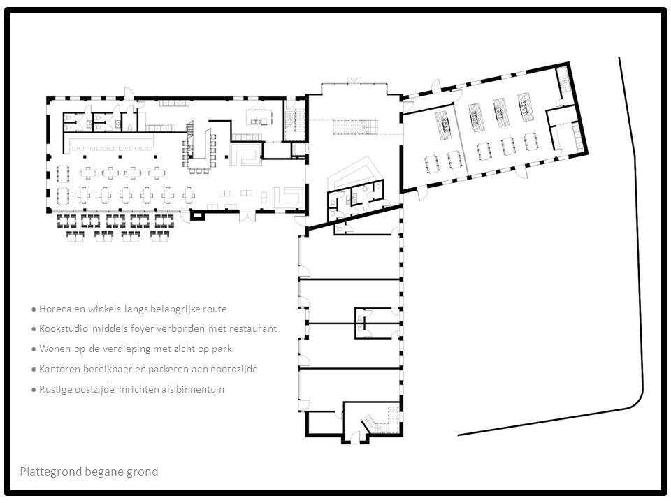 Plattegrond begane grond ● Horeca en winkels langs belangrijke route ● Kookstudio middels foyer verbonden met restaurant ● Wonen op de verdieping met