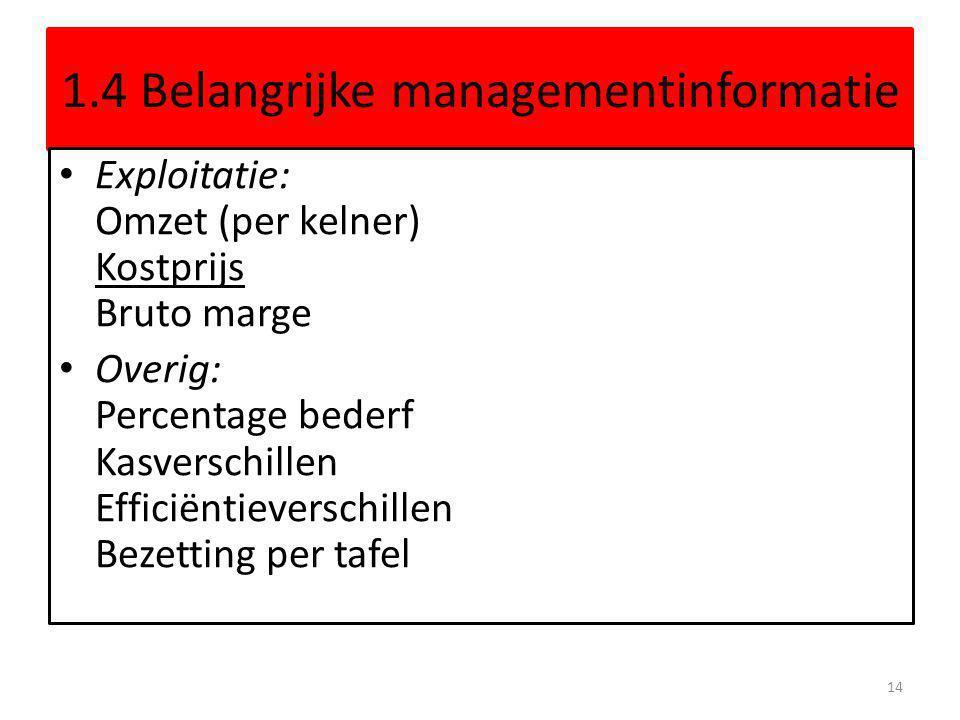 1.4 Belangrijke managementinformatie Exploitatie: Omzet (per kelner) Kostprijs Bruto marge Overig: Percentage bederf Kasverschillen Efficiëntieverschi