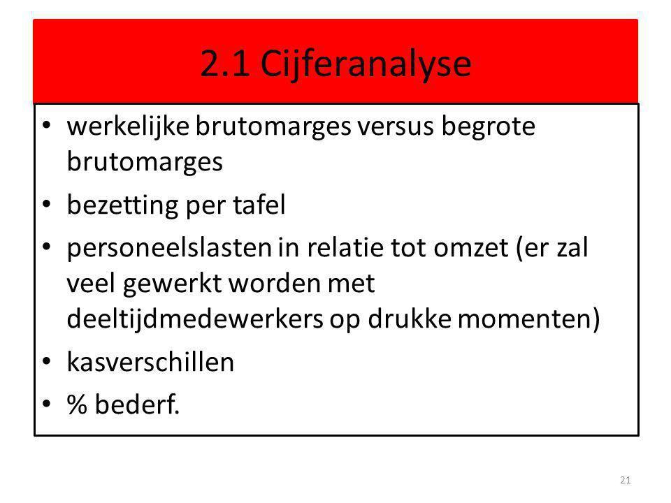 2.1 Cijferanalyse werkelijke brutomarges versus begrote brutomarges bezetting per tafel personeelslasten in relatie tot omzet (er zal veel gewerkt wor