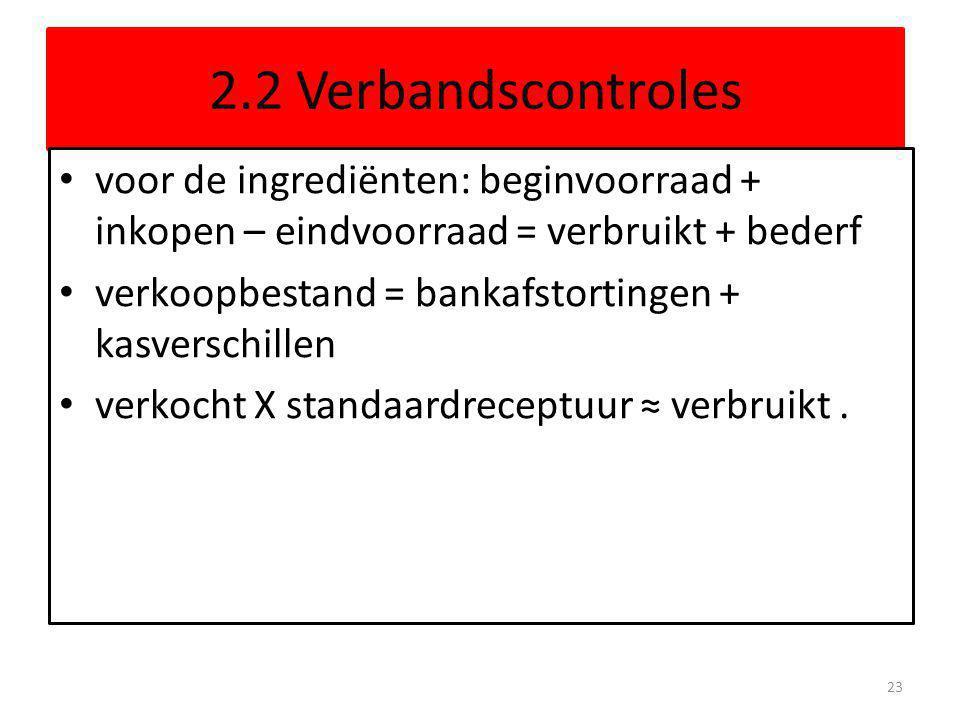 2.2 Verbandscontroles voor de ingrediënten: beginvoorraad + inkopen – eindvoorraad = verbruikt + bederf verkoopbestand = bankafstortingen + kasverschi